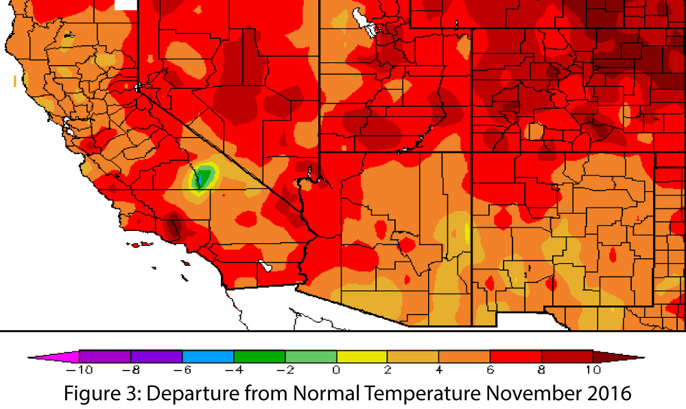 November Temperatures Have Continued The Trend Observed In October Tober Ranging From 2 To 8 Degrees F Above Normal Across Most Of Arizona And New